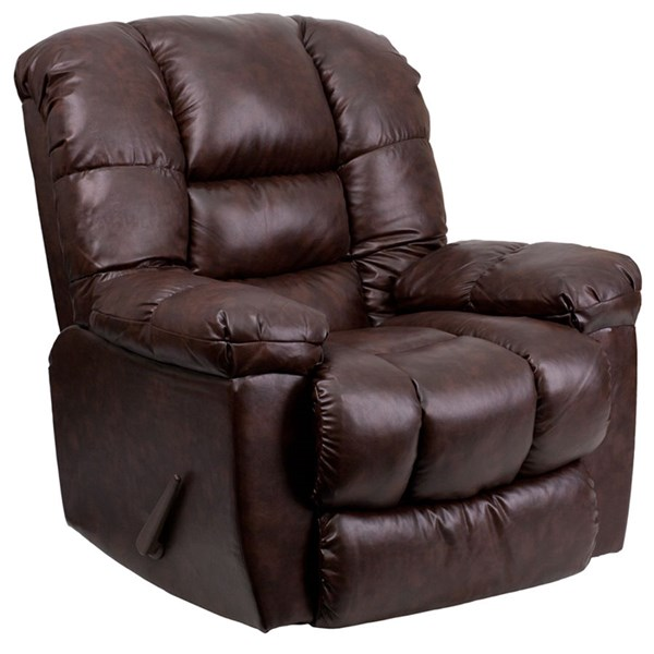New Era Walnut Leather Chaise Rocker Recliner FLF-AM-C9550-4800-GG