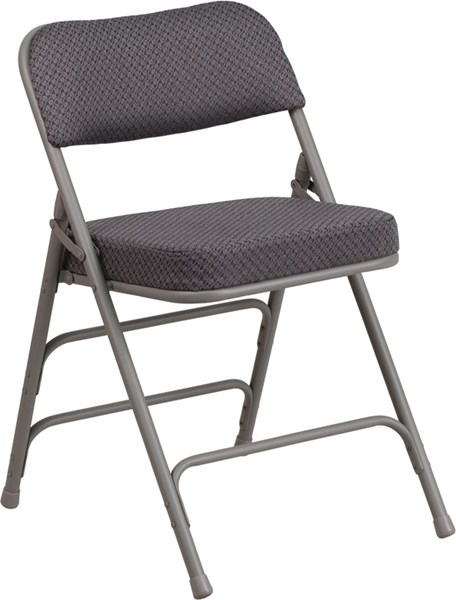 Flash Furniture Hercules Gray Fabric Metal Curved Triple Braced Folding Chair FLF-AW-MC320AF-GRY-GG