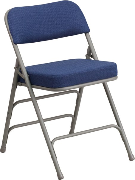 Hercules Series Navy Fabric Metal Curved Triple Braced Folding Chair FLF-AW-MC320AF-NVY-GG