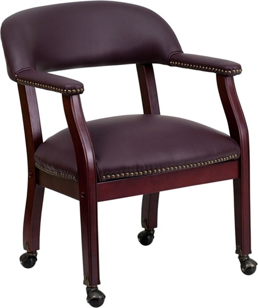 Flash Furniture Burgundy Leather Conference Chair with Casters FLF-B-Z100-LF19-LEA-GG