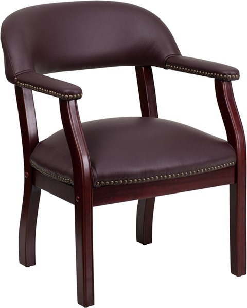 Traditional Burgundy Foam Leather Wood Padded Back Conference Chair FLF-B-Z105-LF19-LEA-GG
