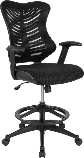 Flash Furniture Black Mesh Drafting Chair FLF-BL-LB-8816D-GG