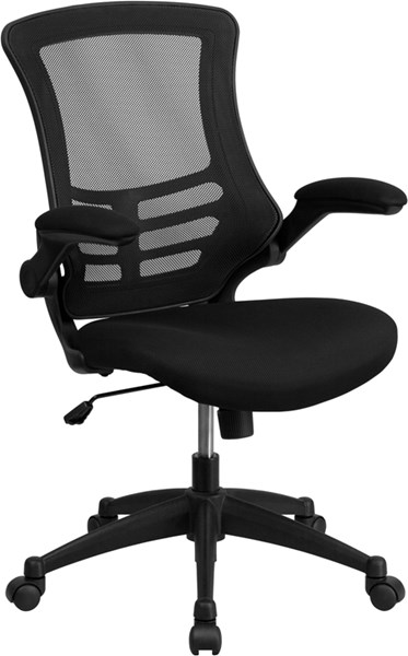 Flash Furniture Black Padded Seat and Flip-Up Arms Swivel Task Chair FLF-BL-X-5M-BK-GG