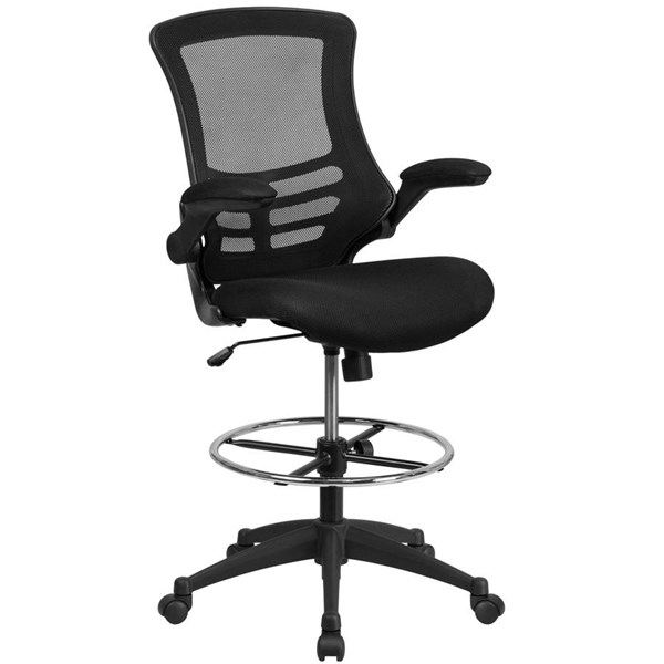 Flash Furniture Black Mesh Drafting Chair with Adjustable Foot Ring and Flip Up Arms FLF-BL-X-5M-D-GG