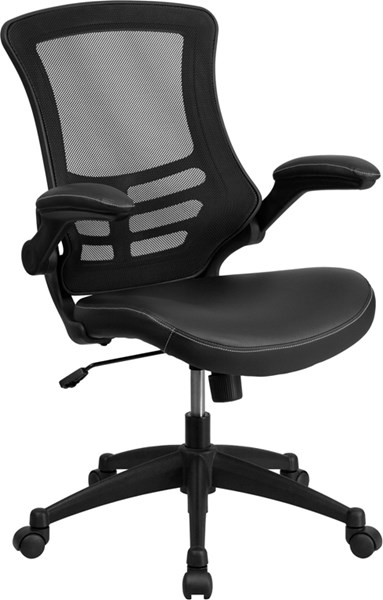 Flash Furniture Black Leather Padded Seat and Flip-Up Arms Swivel Task Chair FLF-BL-X-5M-LEA-GG
