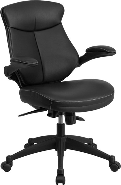 Flash Furniture Black Leather Executive Swivel Office Chair with Flip-Up Arms FLF-BL-ZP-804-GG