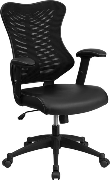 Flash Furniture Black Designer Mesh Executive Swivel Leather Padded Seat Office Chair FLF-BL-ZP-806-BK-LEA-GG