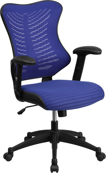 Flash Furniture Blue Designer Executive Swivel Office Chair with Mesh Padded Seat FLF-BL-ZP-806-BL-GG