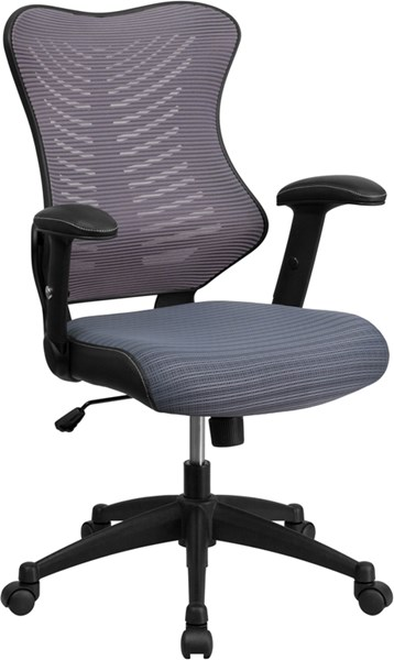 Flash Furniture Gray Designer Executive Swivel Office Chair with Mesh Padded Seat FLF-BL-ZP-806-GY-GG