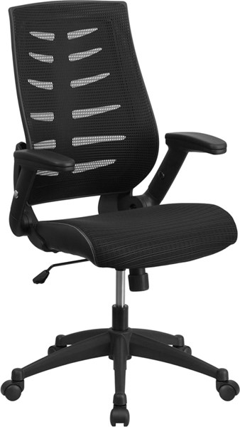 Flash Furniture Black Designer Mesh Executive Swivel Office Chair with Flip-Up Arms FLF-BL-ZP-809-BK-GG