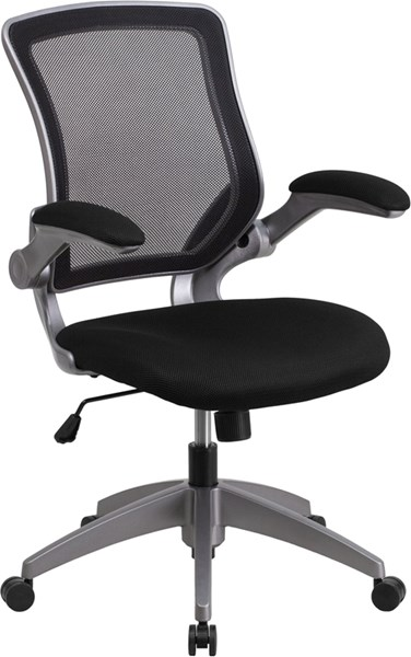 Mid-Back Black Mesh Swivel Task Chair w/Gray Frame & Flip-Up Arms FLF-BL-ZP-8805-BK-GG