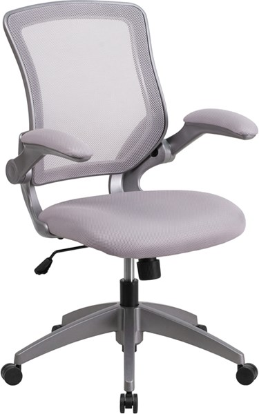 Flash Furniture Mid Back Gray Mesh Swivel Task Chair with Flip-Up Arms FLF-BL-ZP-8805-GY-GG