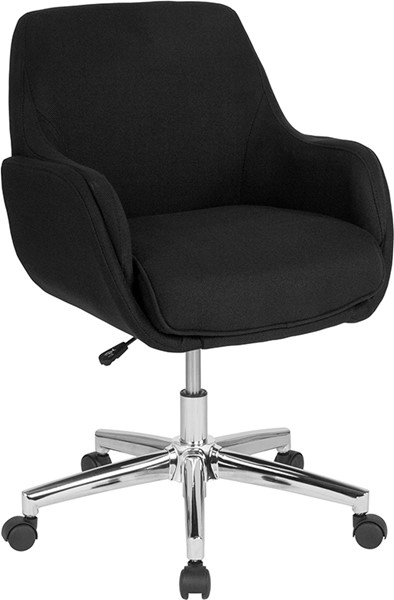 Flash Furniture Rochelle Black Fabric Mid Back Chair FLF-BT-1172-BLK-F-GG