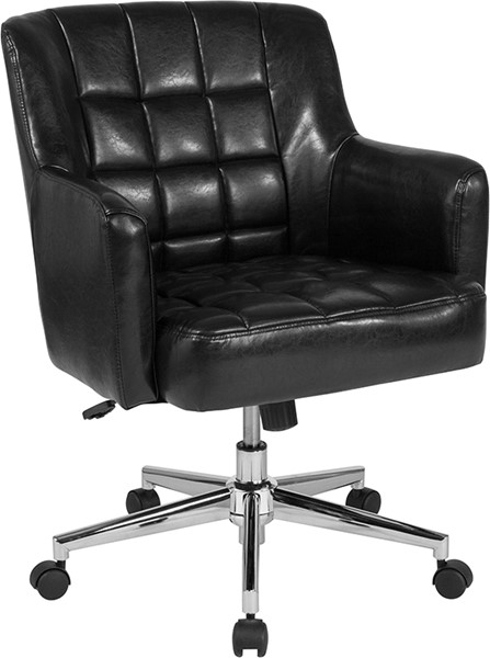 Flash Furniture Laone Black Leather Mid Back Chair FLF-BT-1176-BLK-GG
