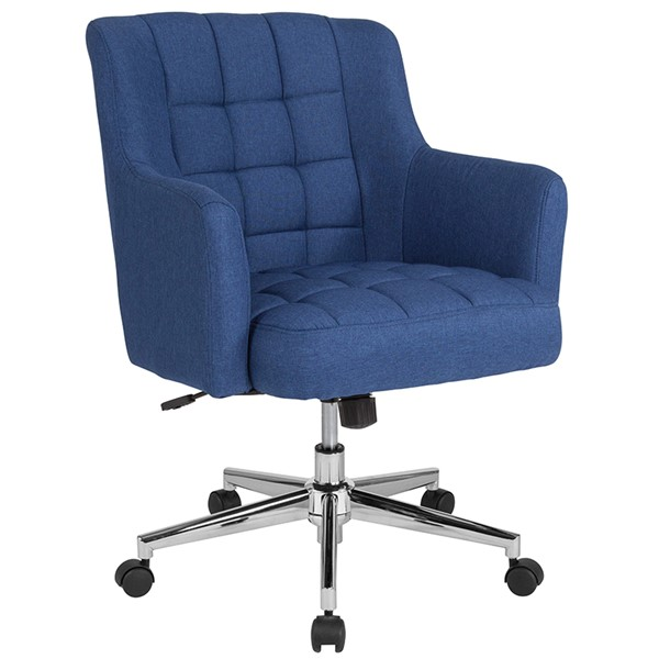 Flash Furniture Laone Blue Fabric Mid Back Chair FLF-BT-1176-BLU-F-GG