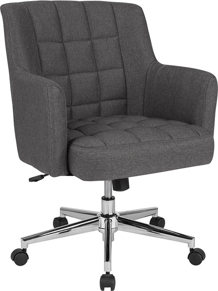 Flash Furniture Laone Dark Gray Fabric Mid Back Chair FLF-BT-1176-DGY-F-GG