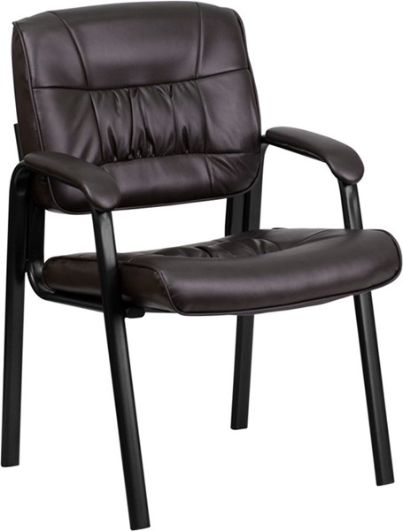 Flash Furniture Brown Leather Guest Reception Chair with Frame FLF-BT-1404-BN-GG