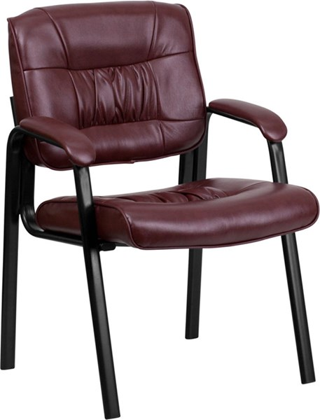 Burgundy Leather Guest / Reception Chair w/Black Frame Finish FLF-BT-1404-BURG-GG