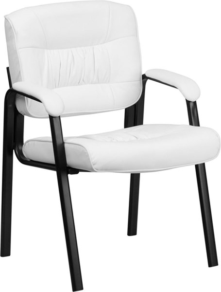 Flash Furniture White Leather Guest Reception Chair with Frame FLF-BT-1404-WH-GG
