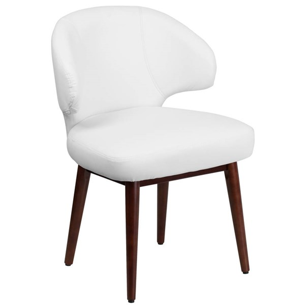 Flash Furniture Comfort Back White Side Reception Chair with Legs FLF-BT-2-WH-GG
