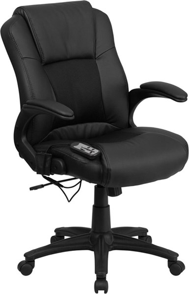 Flash Furniture Massaging Black Leather Executive Office Chair FLF-BT-2536P-1-GG