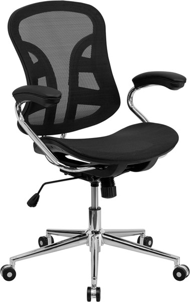 Mid-Back Black Mesh Swivel Task Chair w/Chrome Base and Padded Arms FLF-BT-2779-GG