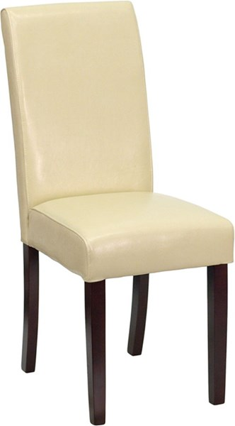 Contemporary Ivory Mahogany Leather Wood Upholstered Parsons Chair FLF-BT-350-IVORY-050-GG