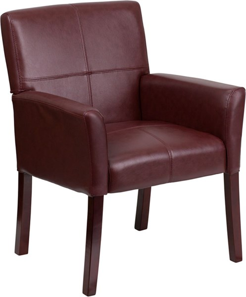 Burgundy Leather Executive Side Chair or Reception  w/Mahogany Legs FLF-BT-353-BURG-GG