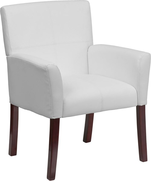 White Leather Executive Side Chair or Reception w/Mahogany Legs FLF-BT-353-WH-GG