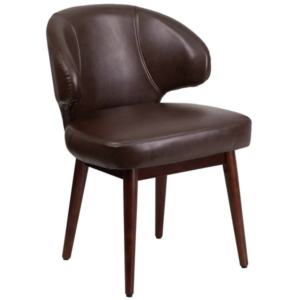 Flash Furniture Comfort Back Brown Side Reception Chair with Legs FLF-BT-4-BN-GG