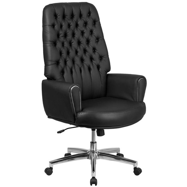 Flash Furniture Tufted Black Leather Executive Swivel Chair with Arms FLF-BT-444-BK-GG