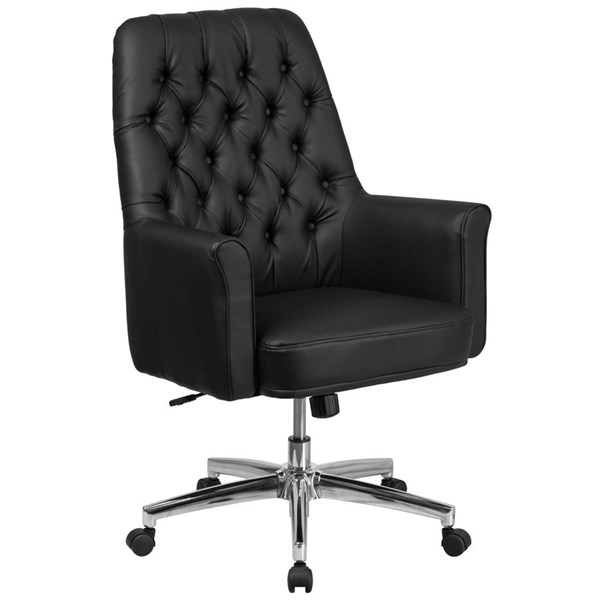 Flash Furniture Traditional Tufted Leather Executive Swivel Chairs with Arms FLF-BT-444-MID-OFF-CH-VAR