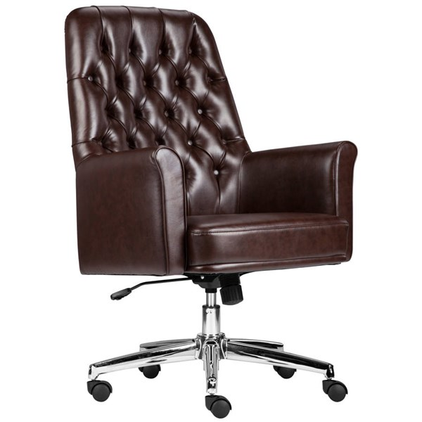 Flash Furniture Traditional Tufted Brown Leather Executive Swivel Chair with Arms FLF-BT-444-MID-BN-GG