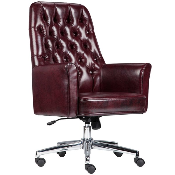 Flash Furniture Traditional Tufted Burgundy Leather Executive Swivel Chair with Arms FLF-BT-444-MID-BY-GG