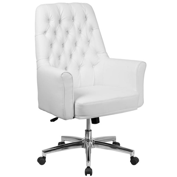 Flash Furniture Traditional Tufted White Leather Executive Swivel Chair with Arms FLF-BT-444-MID-WH-GG