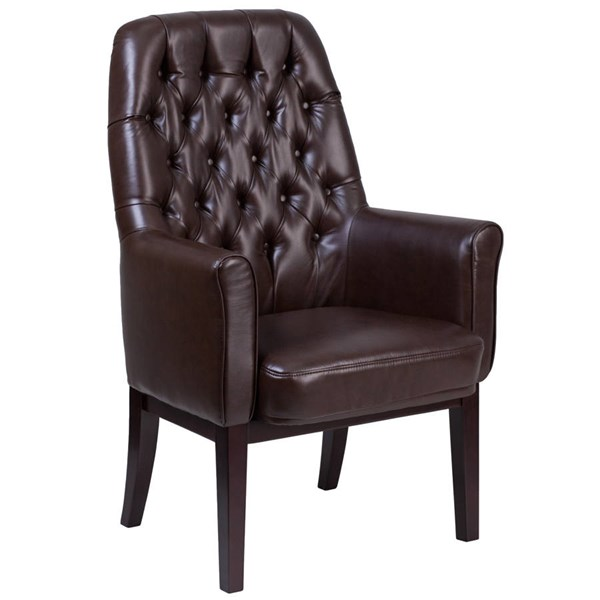 Flash Furniture Traditional Tufted Brown Leather Side Reception Chair FLF-BT-444-SD-BN-GG