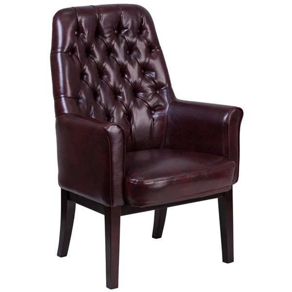 Flash Furniture Traditional Tufted Burgundy Leather Side Reception Chair FLF-BT-444-SD-BY-GG