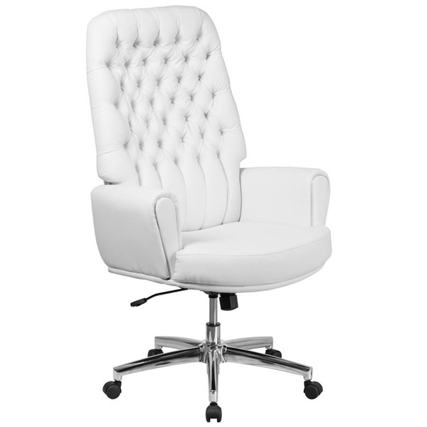 Flash Furniture Tufted White Leather Executive Swivel Chair with Arms FLF-BT-444-WH-GG