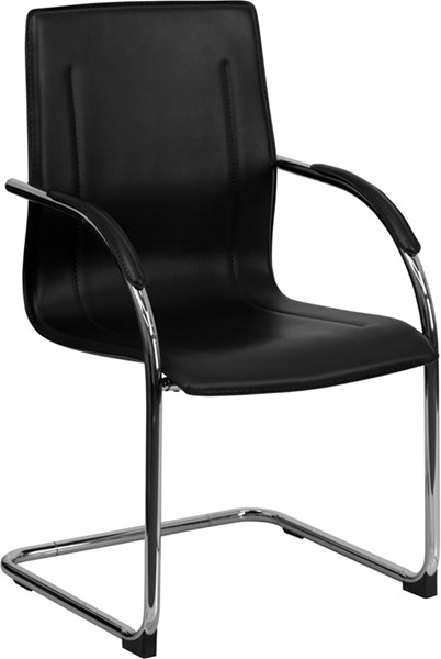 Flash Furniture Black Vinyl Side Chair with Chrome Sled Base FLF-BT-509-BK-GG