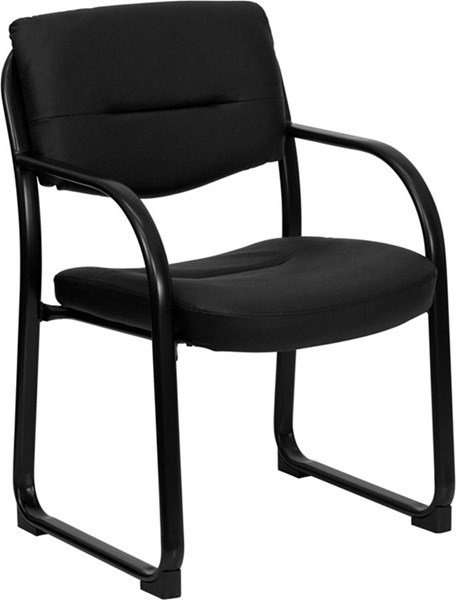 Flash Furniture Black Executive Side Chair with Sled Base FLF-BT-510-LEA-BK-GG