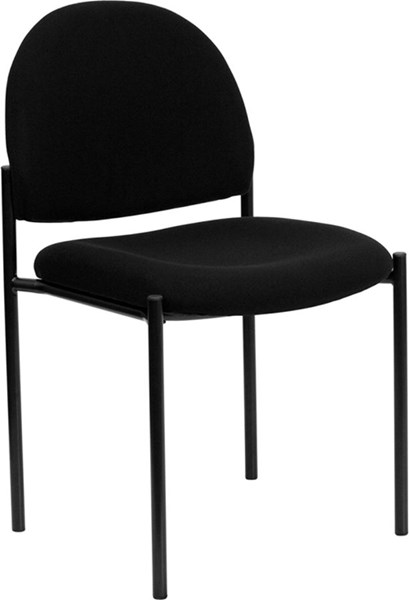 Black Fabric Comfortable Stackable Steel Side Chair FLF-BT-515-1-BK-GG
