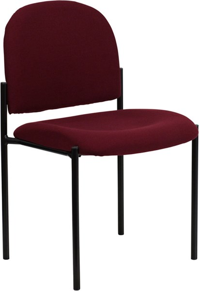 Burgundy Fabric Comfortable Stackable Steel Side Chair FLF-BT-515-1-BY-GG