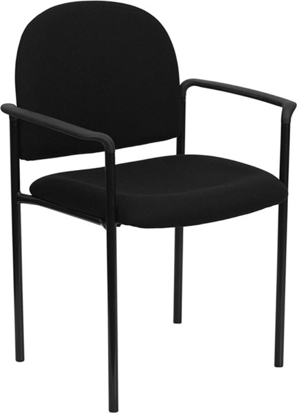 Flash Furniture Black Fabric Comfortable Stackable Side Chair with Arms FLF-BT-516-1-BK-GG