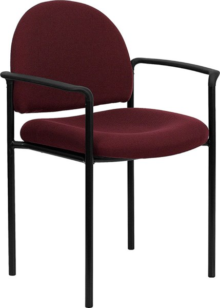Flash Furniture Burgundy Fabric Comfortable Stackable Side Chair with Arms FLF-BT-516-1-BY-GG