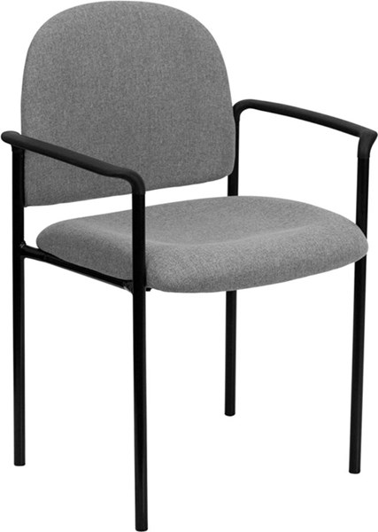 Gray Fabric Comfortable Stackable Steel Side Chair w/Arms FLF-BT-516-1-GY-GG