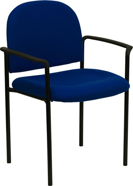 Flash Furniture Navy Fabric Comfortable Stackable Side Chair with Arms FLF-BT-516-1-NVY-GG