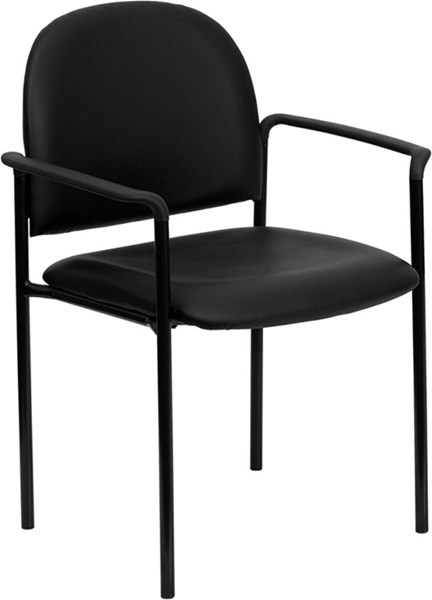 Flash Furniture Black Vinyl Comfortable Stackable Side Chair with Arms FLF-BT-516-1-VINYL-GG