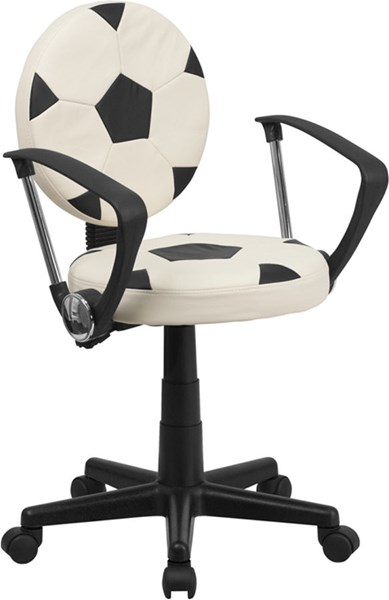 Standard Black White Foam Nylon Vinyl Soccer Task Office Chairs FLF-BT-6177-SOC-GG-VAR