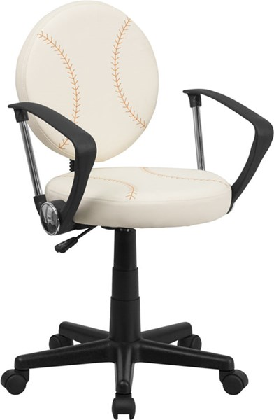 Standard Brown Cream Foam Nylon Vinyl Baseball Task Office Chairs FLF-BT-6179-BASE-GG-VAR