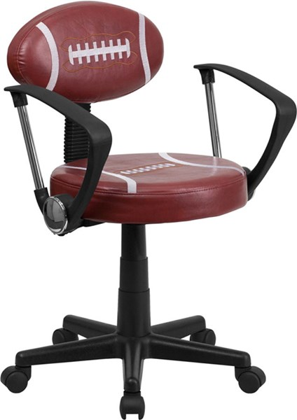 Flash Furniture Black Brown Vinyl Football Task Chair with Arms FLF-BT-6181-FOOT-A-GG